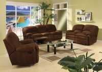 Chocolate Brown Microfiber Contemporary Reclining Living Room