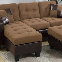 Home Depot Chairs Plastic Teak Folding With Arms F6929 Sectional Sofa In Saddle Microfiber Fabric By Boss