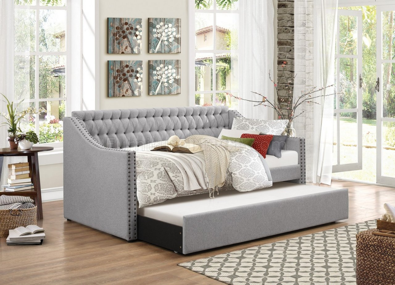 leather nailhead sofa set best cleaner and conditioner australia tulney 4966 daybed in grey fabric by homelegance w/trundle