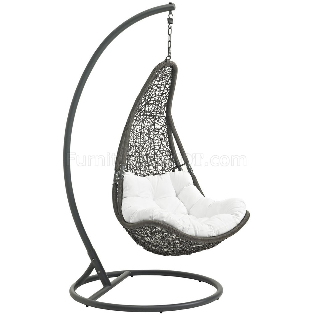 swing chair grey office chairs amsterdam abate outdoor patio in gray and white by modway