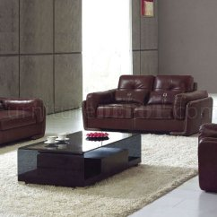 Burgundy And Brown Living Room Partition Full Leather Modern 132 Italian Sofa W Options