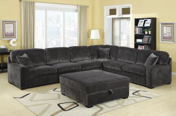 500753 Luka Sectional Sofa In Charcoal Fabric Coaster