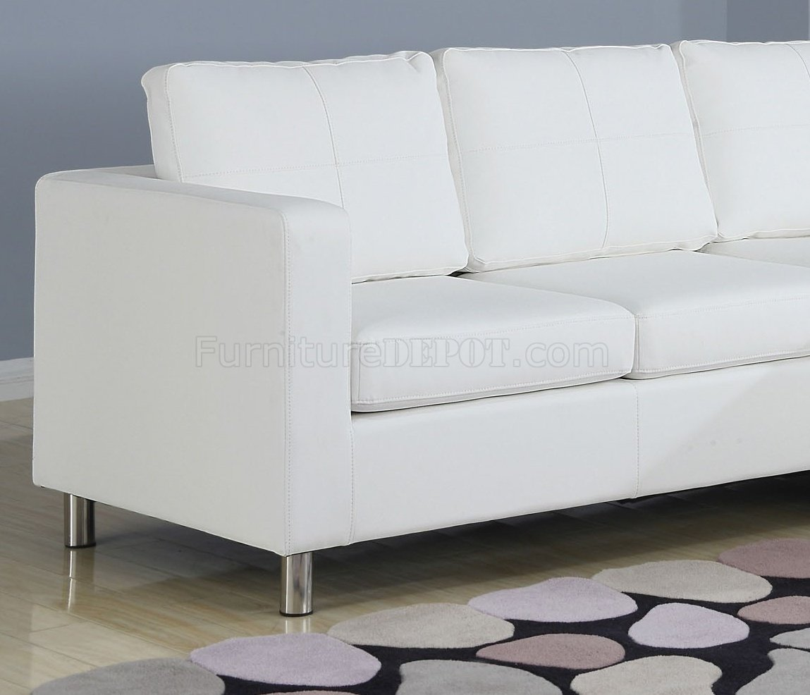 vinyl sectional sofa fire ant free 15068 kemen in white by acme
