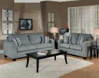 Grey Fabric Modern Living Room Sofa & Loveseat Set