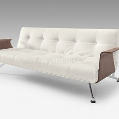 White And Black Sofa Bed How To Repair Wear Tear On Leather Full Leatherette Modern Convertible W