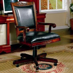 Black Wood Desk Chair Wall Hugger Lift Vinyl Office W Carvings Accented Frame