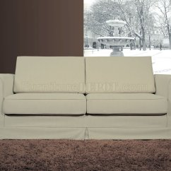 Pull Out Bed Sofa Franco Leather Sectional Contemporary Beige Fabric With