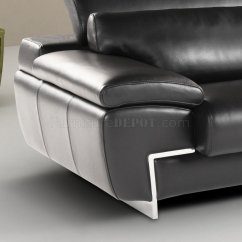 Sofa Headrest Cream Colored Covers Black Full Leather Modern Sectional W Adjustable