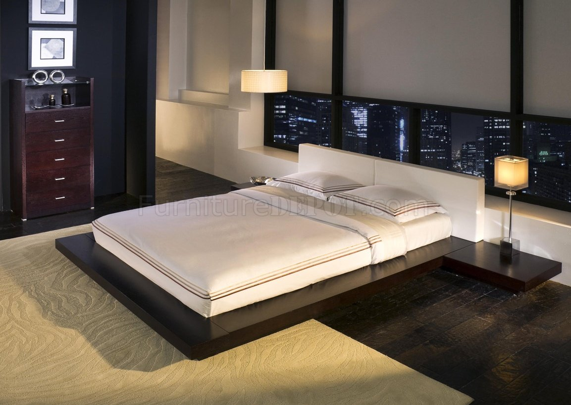 Worth HB39A Platform bed by Modloft with BuiltIn Side Tables
