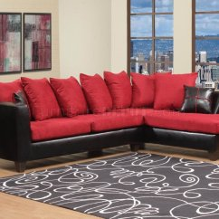 Black And Red Sofa Bed Frames Fabric Vinyl Modern Sectional W Wood Legs