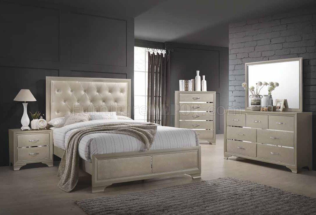 Beaumont Bedroom 5Pc Set 205291 in Champagne Golden