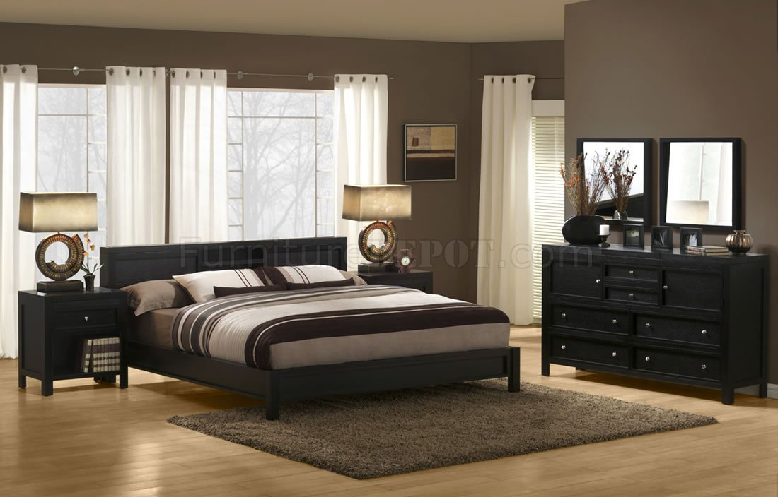 Dark Espresso Finish Modern Bedroom Set With Platform Bed