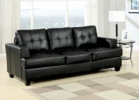 Black Bonded Leather Modern Sofa w/Queen Size Sleeper