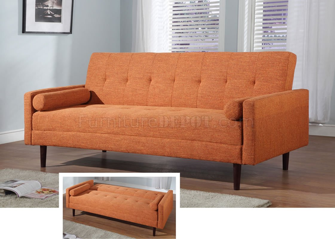 contemporary sofa bed furniture vig orange fabric