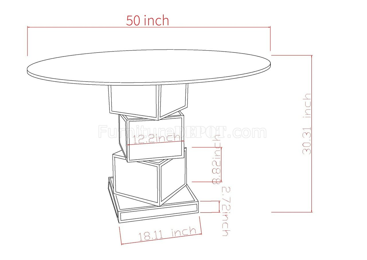 Marlene Dining Table 5pc Set By Chintaly W Mirror Base