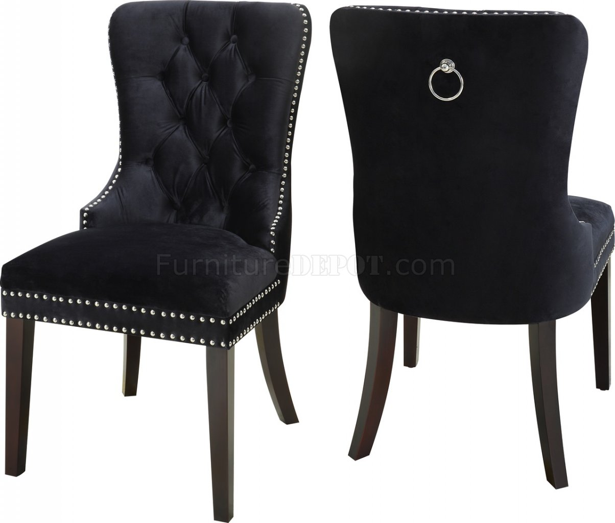 black leather sofa with nailheads cover for solsta bed nikki dining chair 740 set of 2 velvet fabric by ...