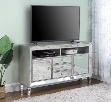 722272 60 TV Console in Metallic Platinum  Mirror by Coaster