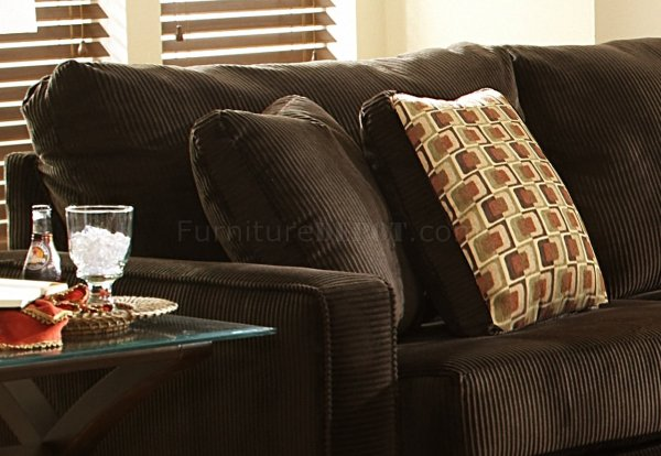 Viva Chocolate Fabric Modern Sectional Sofa wLarge Back