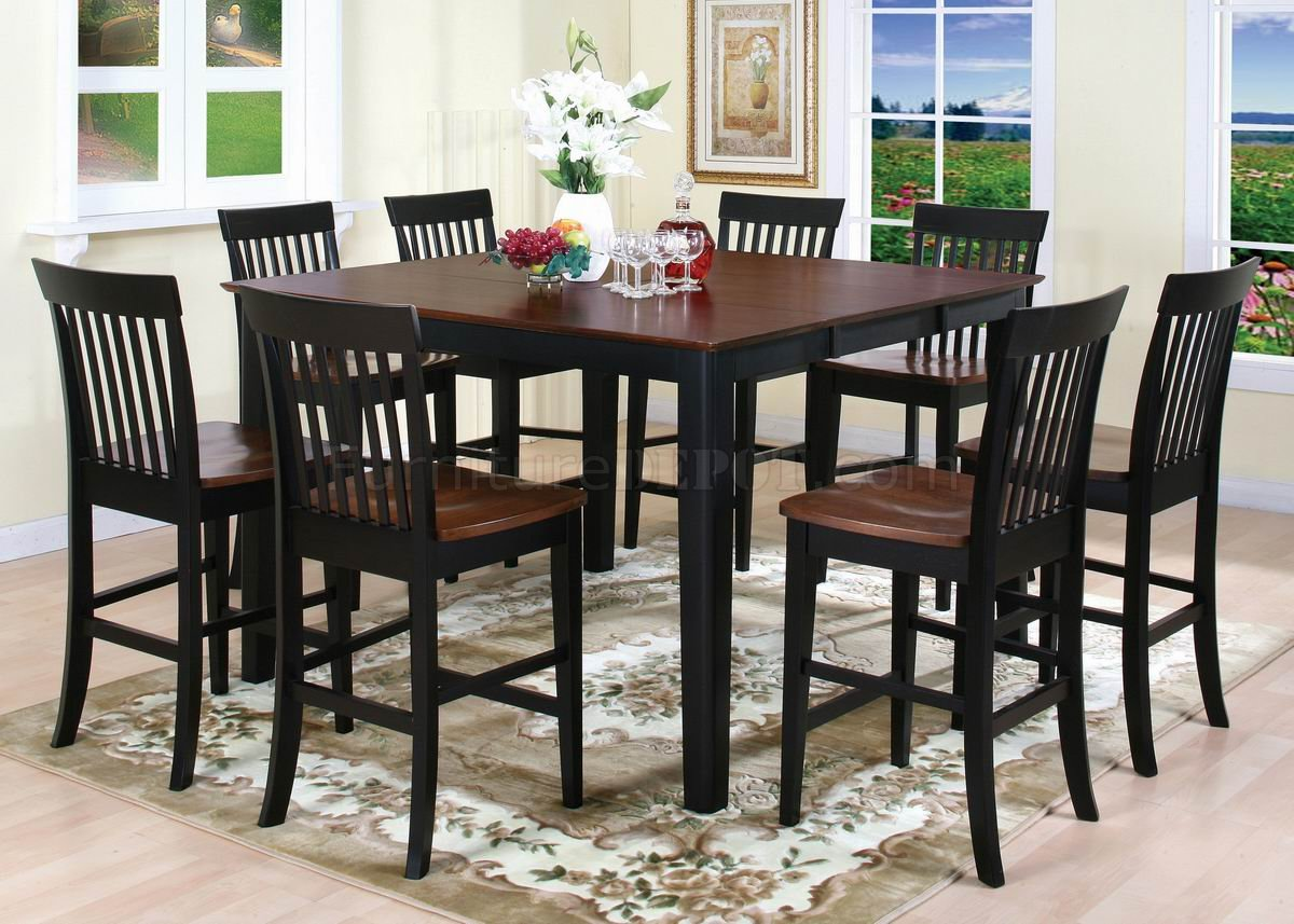 TwoTone Finish 5Pc Modern Counter Height Dining Set wOptions