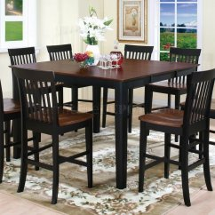 Tall Table And Chairs Chair Seat Repair Materials Two Tone Finish 5pc Modern Counter Height Dining Set W Options