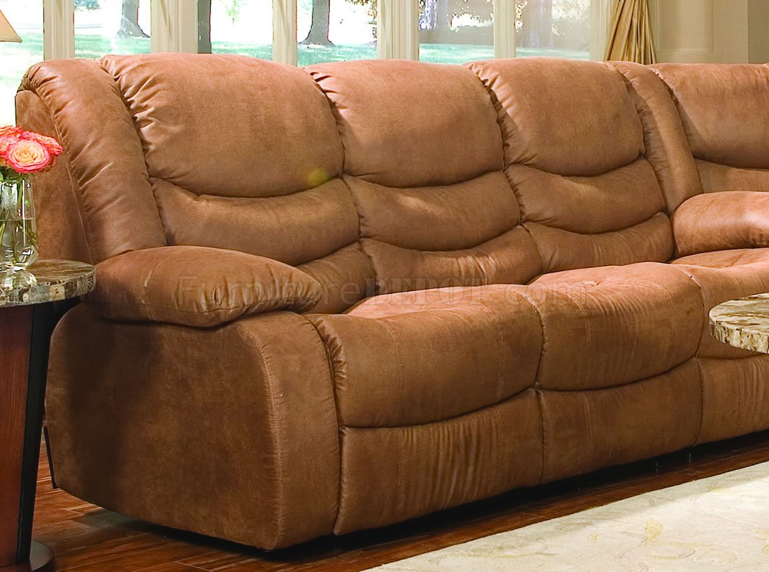 mission brown leather sofa fabric with removable covers rust specially treated microfiber sectional w recliner seat