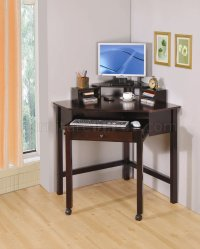 Rich Cherry Finish Modern Home Office Small Corner Desk w