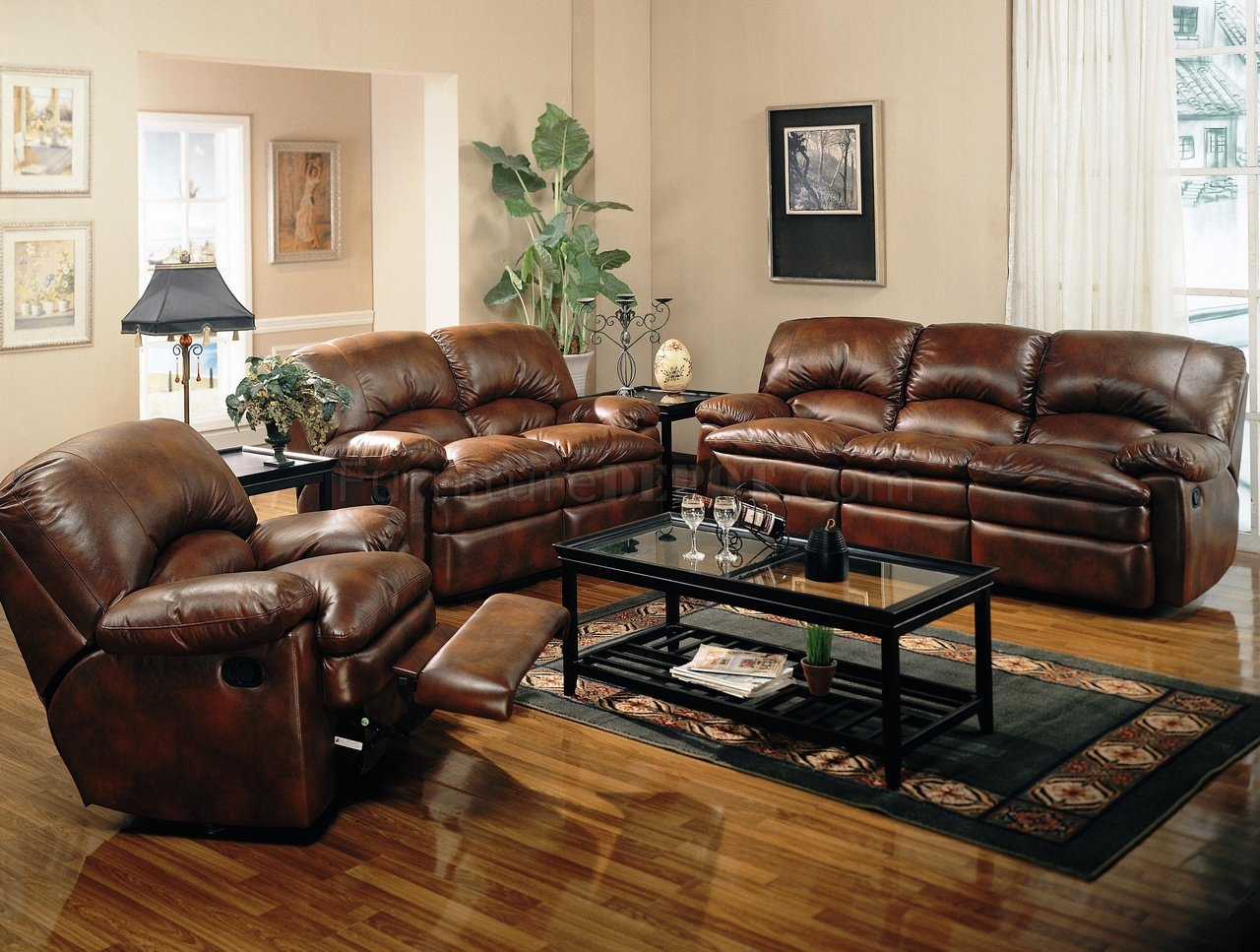 bonded leather reclining sofa set metal bed with storage rich brown modern w options