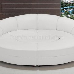 Circle Couch Chair White Leather Dining Chairs 2276 Sectional Sofa In Bonded By Vig