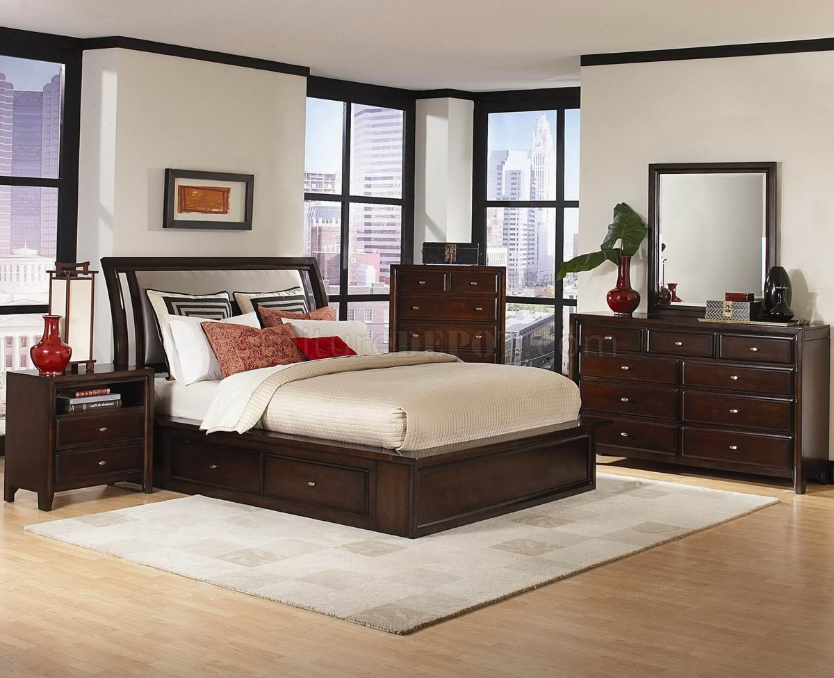 Distressed Cherry Finish Modern Bedroom Set wOptions