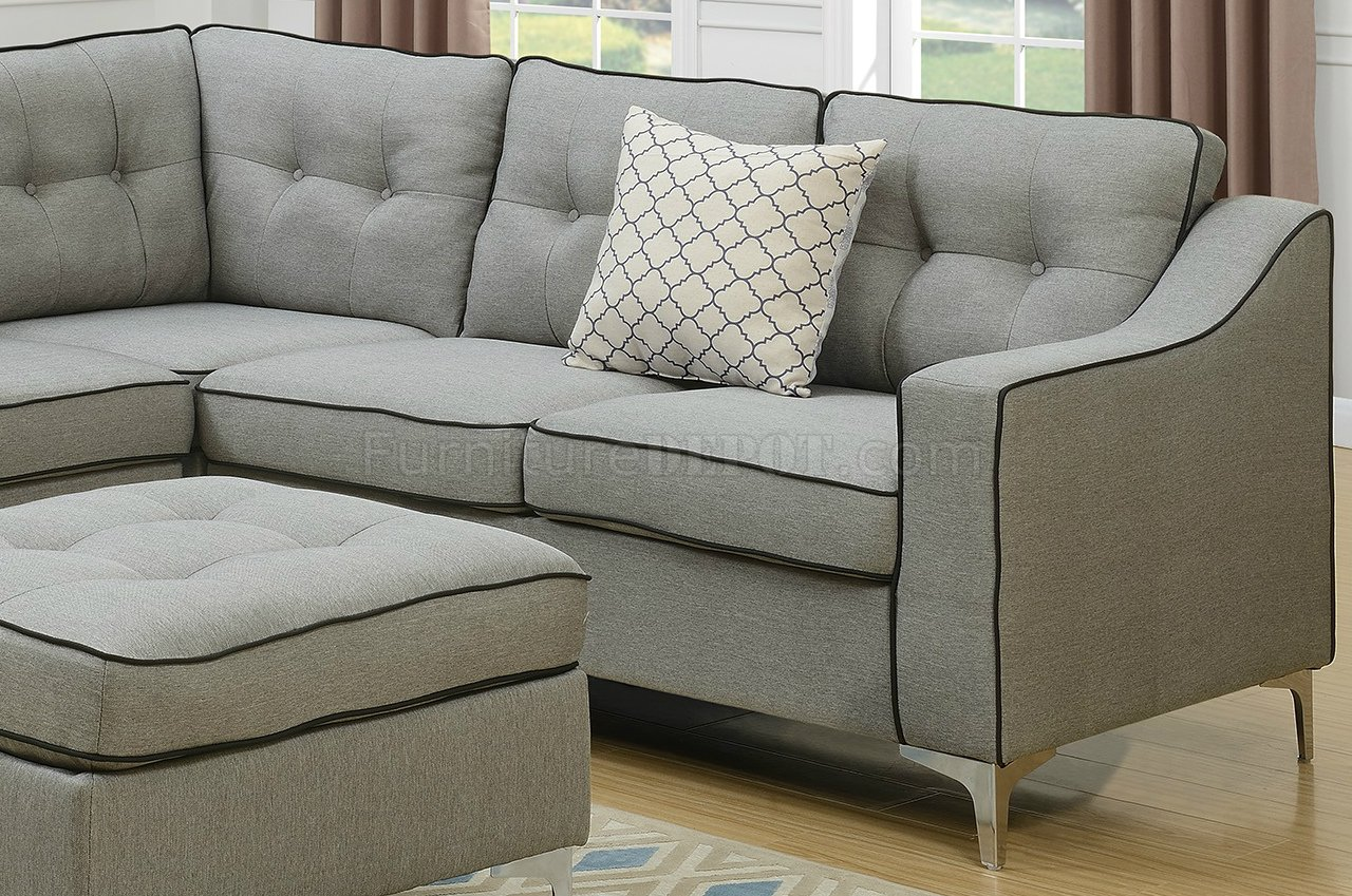 light gray fabric sectional sofa garden treasures cover f6998 in w ottoman by boss