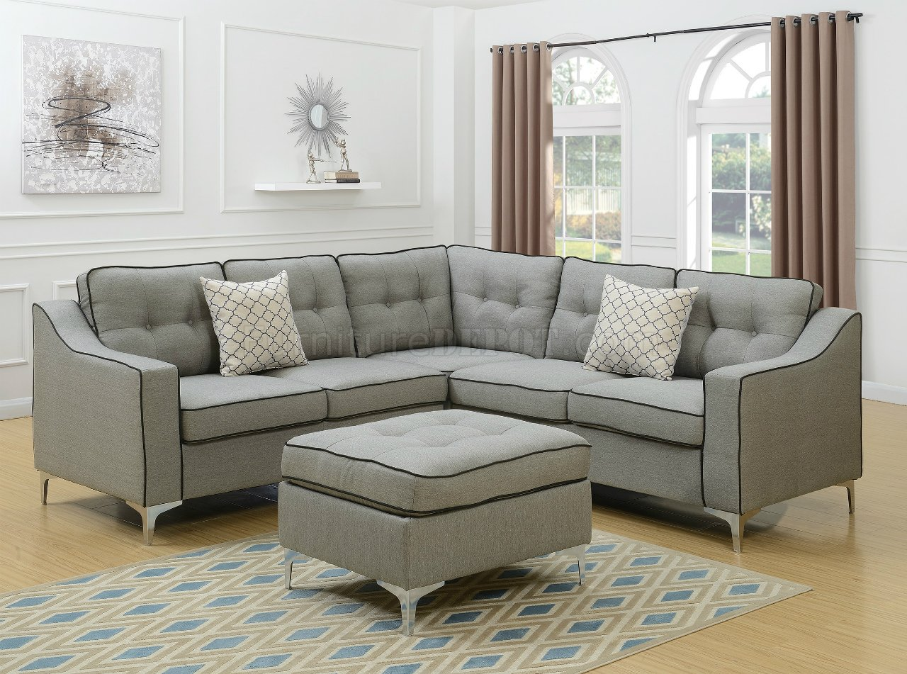 light gray fabric sectional sofa table between wall and f6998 in w ottoman by boss