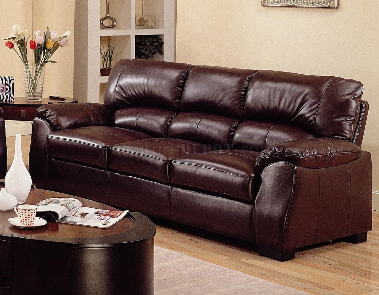 leather sofa brown contemporary tweed rich match living room w