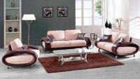 Beige Microfiber & Brown Bycast Leather Living Room Set