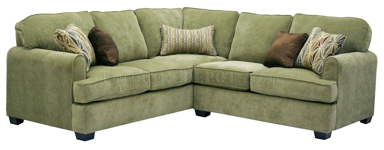 Herb Chenille Fabric Modern Sectional Sofa wOptional Items