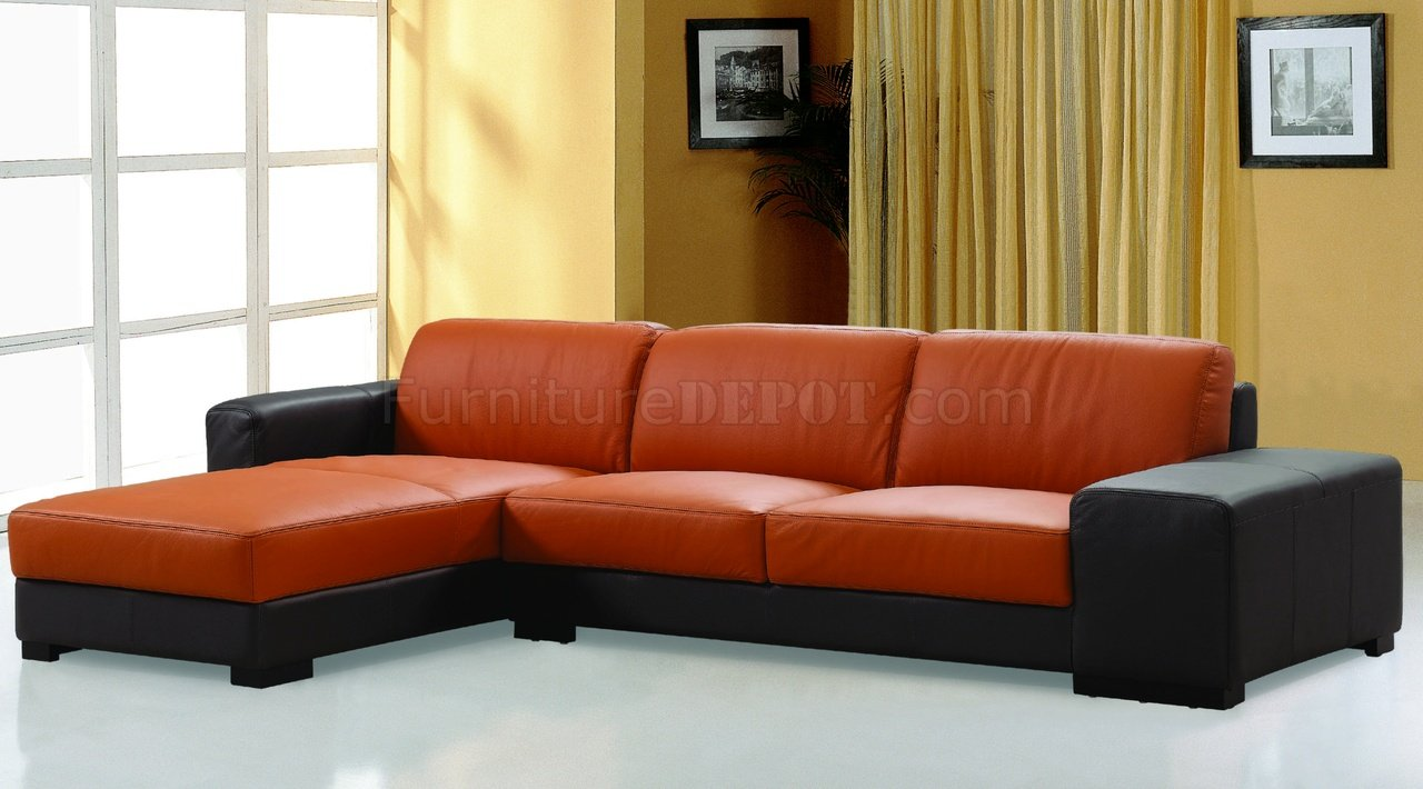 Dico Sectional Sofa in Brown  Orange Leather by Beverly Hills