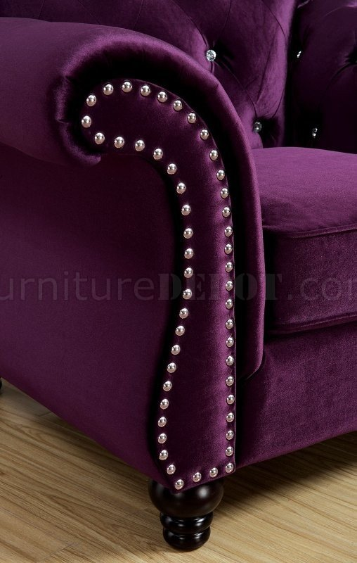 Jolanda Sofa CM6159PR in Plum Fabric wOptions