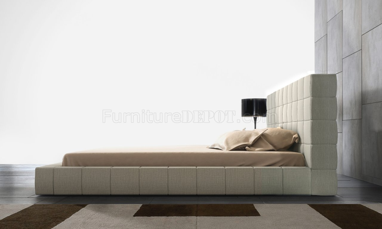 MD321 Thompson Beige Leather Bed by Modloft