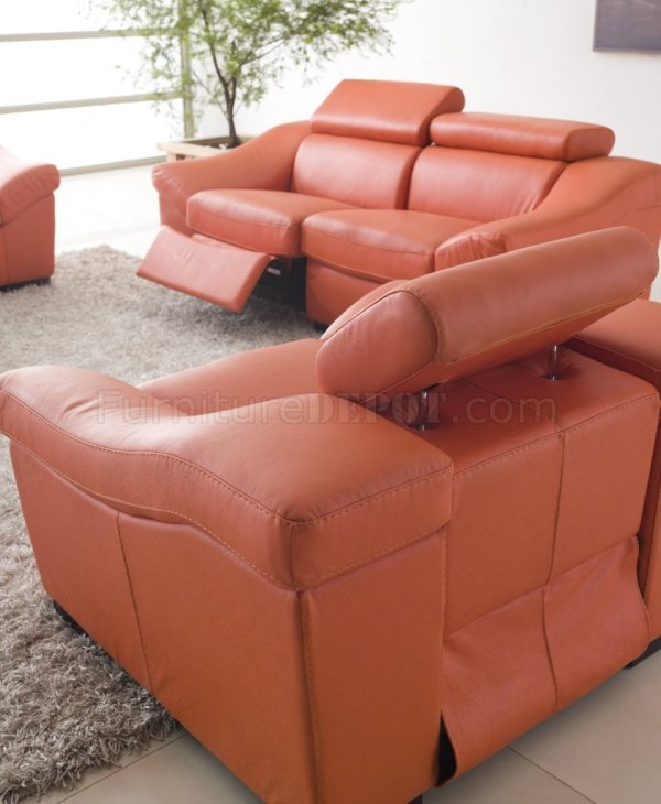 Orange Leather Sofa Recliner