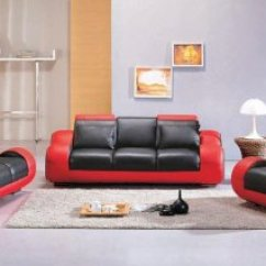 Red Living Room Sets Wallpaper Designs Black Two Tone Leather 3pc Modern Set