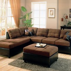 Sectional Sofa For Living Room U Shaped Black Leather Two Tone Modern 500655 Chocolate Dark Brown