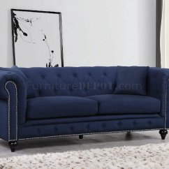 Navy Leather Chesterfield Sofa Ikea Rp Bed Covers 2 Seater 662 In Linen Fabric W Optional Items