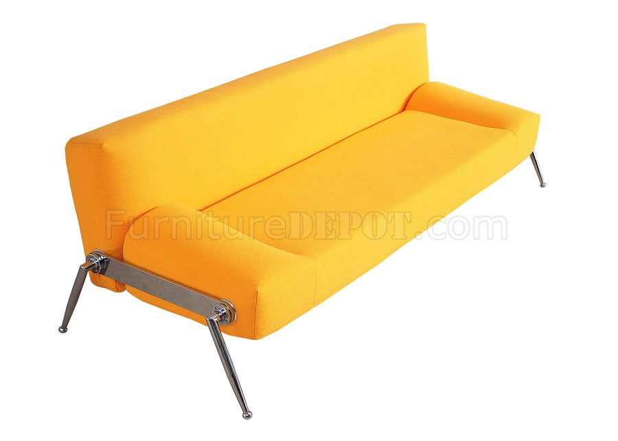 Stylish Sofa Bed In Yellow Fabric Or BlackRed Leatherette