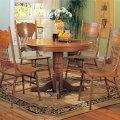 Oak finish traditional 5pc round dining set w pedestal base