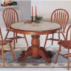 Round Oak Table And Chairs Funky Wooden Classic Dining Room Deluxe Arrow Back