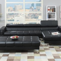Formal Sofas For Living Room Mediterranean Design F7363 Sectional Sofa In Black Bonded Leather By Boss