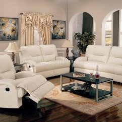 Modern Bonded Leather Sectional Sofa With Recliners Bed Drink Holders White Motion Living Room W/options