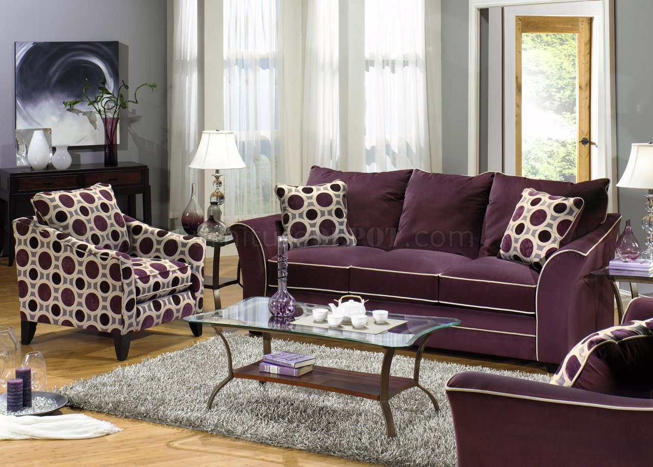 Eggplant Suede Fabric Modern Sofa  Loveseat Set wOptions