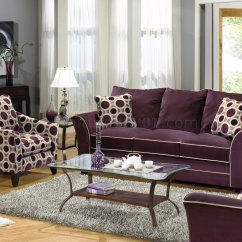 Eggplant Color Sofa Sofas In Miami Suede Fabric Modern And Loveseat Set W Options