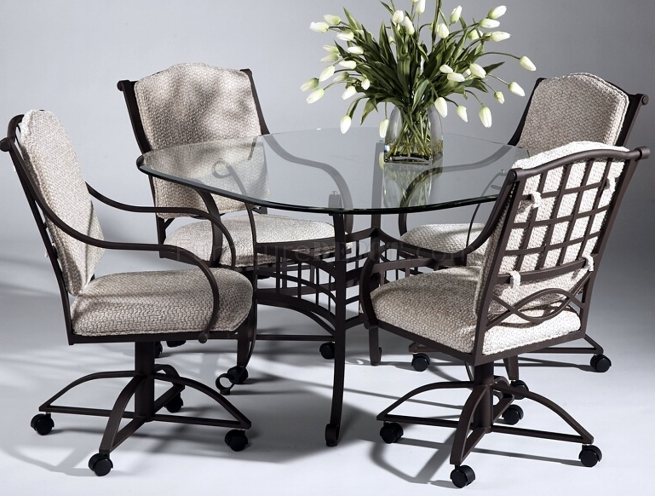 table with swivel chairs chair without back clear glass top modern dinette w optional