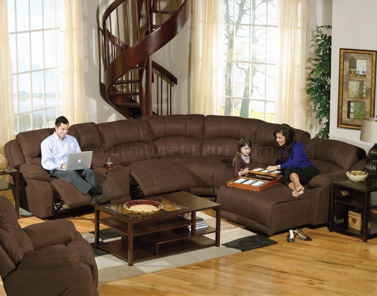 Espresso Fabric Compass Modular Sectional Sofa wOptions